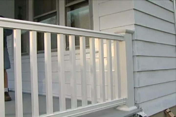 How To Install A Composite Railing On A Porch Or Deck • Ron Hazelton | Wood Railing On Concrete Porch | Surface Mount | Wood Decorative | Vinyl | Front Entry Stair | Bluestone Patio