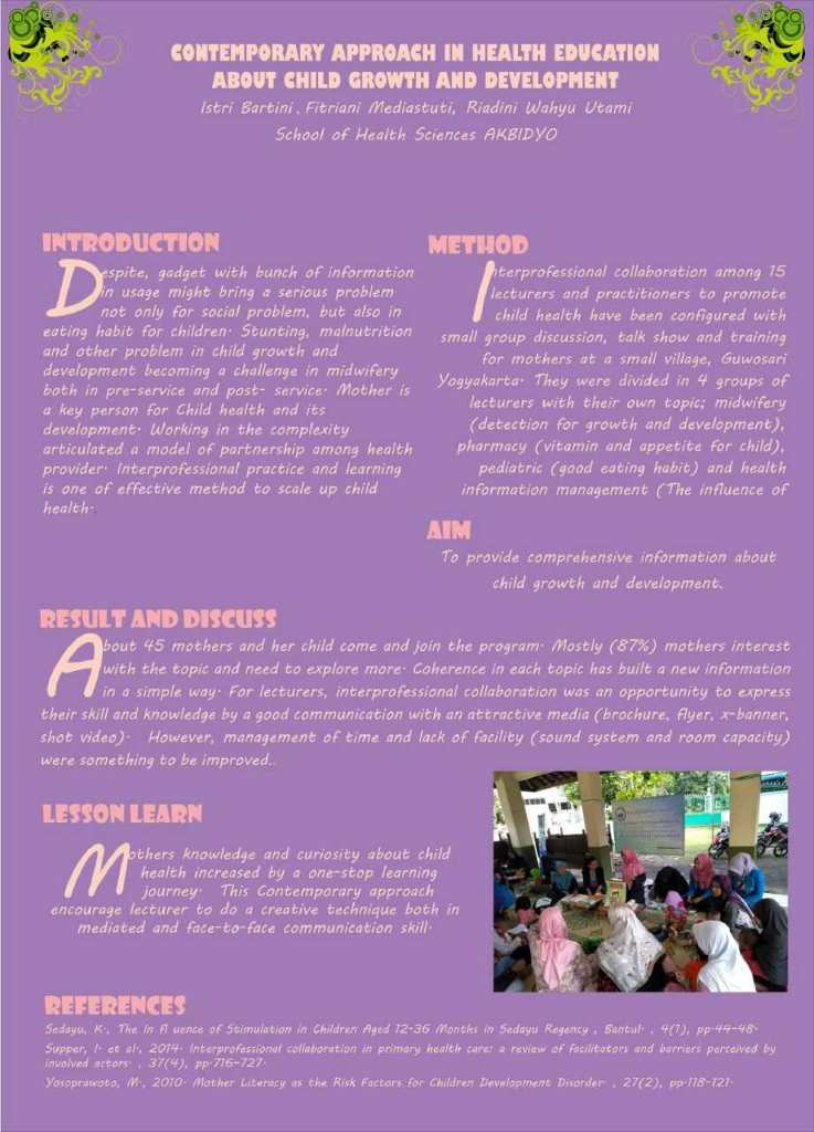 Poster: Contemporary approach in health education about child growth and development