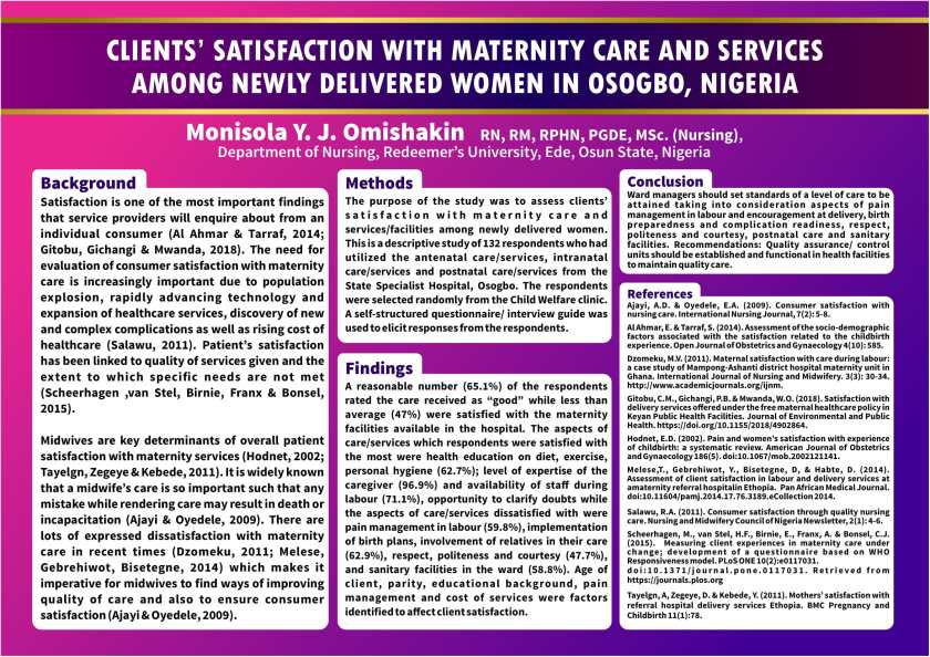 Poster: Clients' satisfaction with maternity care and services among newly delivered women in Osogbo, Nigeria