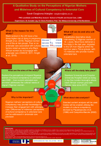 Poster: A qualitative study of the perceptions of Nigerian mothers and midwives of cultural competency in antenatal care