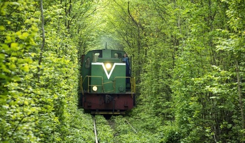Railway in the Tunnel of Love in Klevan