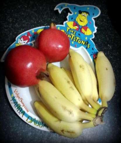 Banana and pomegranate at home
