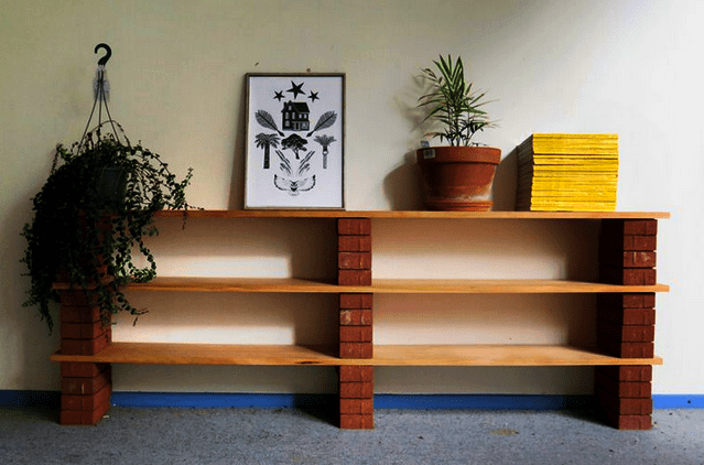 easy diy home decor hacks shelf with brick and plank
