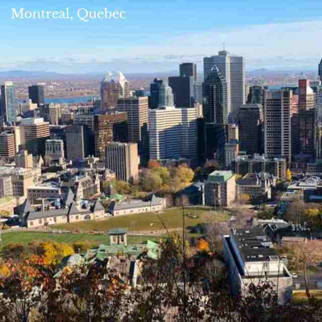 Top 5 cities in Canada, one Montreal, Quebec