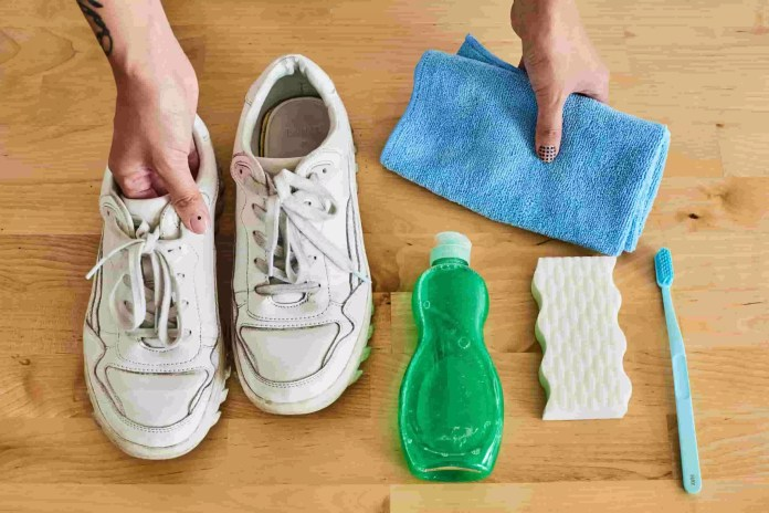 3# Good Old Toothbrush And Dish Soap Will Cleanse The White Sneaker