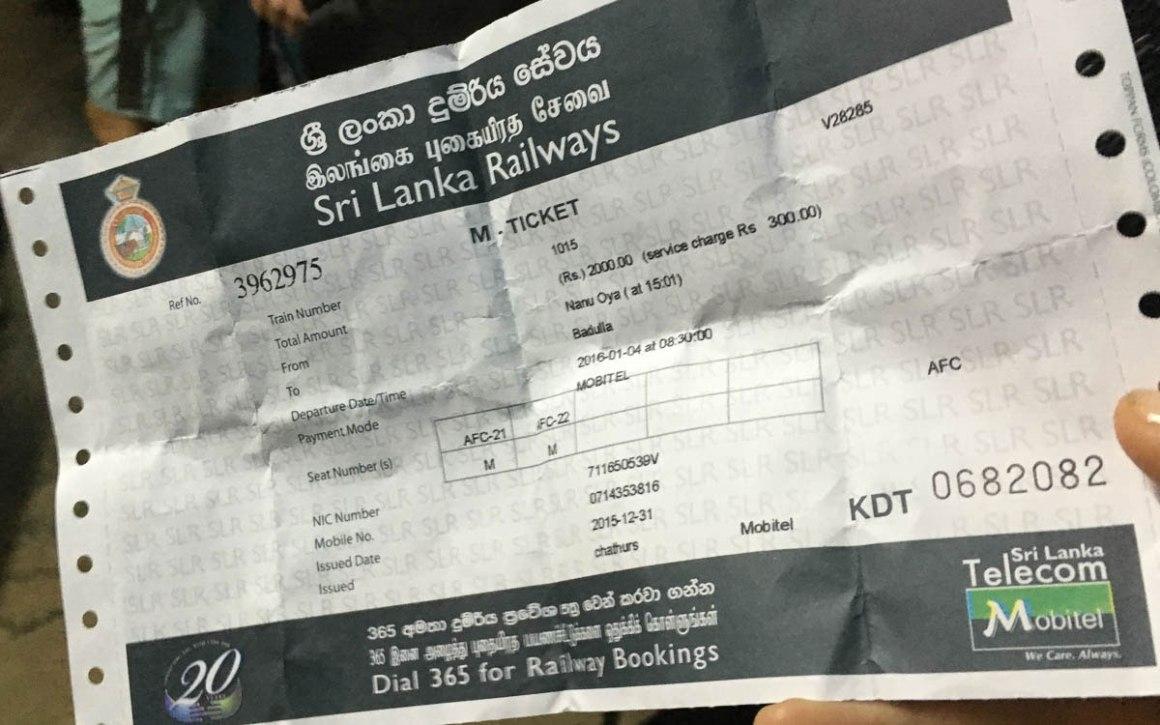 Treinkaartje in Sri Lanka