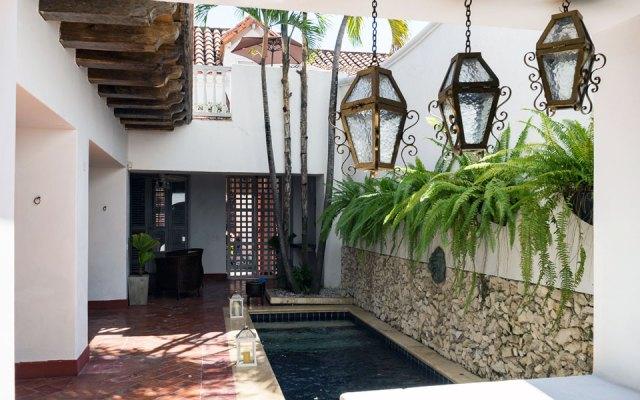 Innenhof unseres Hotels in Cartagenas Altstadt