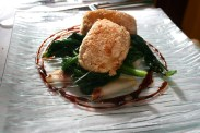 ... pan-fried scamorza, wilted turnip leaves and pear ...
