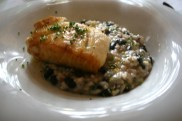 ... Pampo with black beans, chorizo and lemon risotto ...