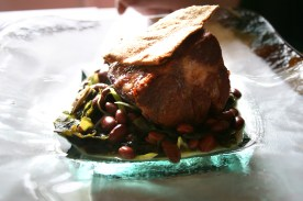 ... slowly roasted Iberian pork neck, kidney beans and seaweeds ...