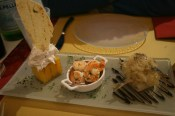B, Murano: Baccala-Creme auf Polenta, Scampi auf Raddichio, Sarde in Saor