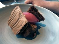 Dark, milk & white chocolate ganache, crispy chocolate, broken gel of blackberry & blackberry sorbet, BOB - Biomio Organic Bistro