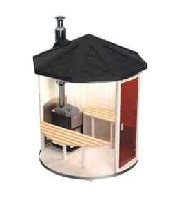 sauna de exterior verticala