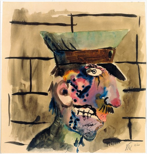 Otto Dix Kriegsverletzter, 1922 Aquarell auf Papier 39,6 x 38 cm © Kunsthaus Zug, Stiftung Sammlung Kamm / © Bildrecht, Wien, 2014