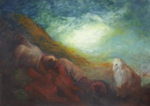 "Csaba Kis Roka, ""White Dog"", oil on canvas, 140x100 cm, 2013, photocredit: http://lemonadegallery.com/"