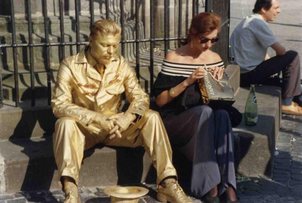"Documentation of Miervaldis Polis's 1987 performance, Brončani čovjek (""The Bronze Man"")"