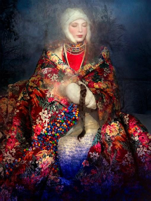 CHRISTIAN LARSEN GALLERY COOPER & GORFER Aana and the Flower Mantle, 2016 Archival pigment print 110 x 83 cm © Courtesy of Christian Larsen Gallery