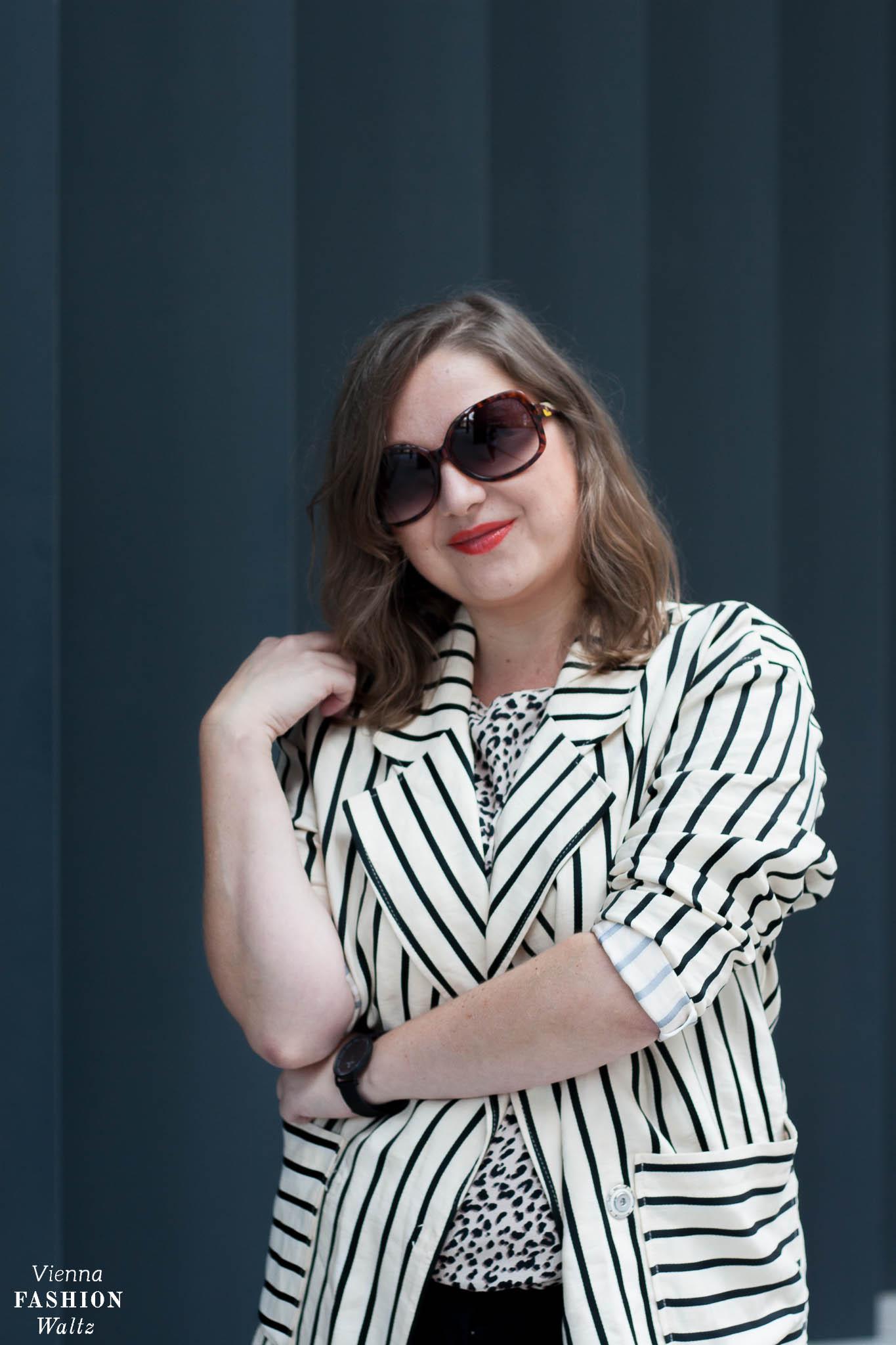 Escada Streifen Blazer mit Leomuster Printmix, Herbsttrend Leoprint & Stylingtipps, Fashion, Outfit, Trends, Style