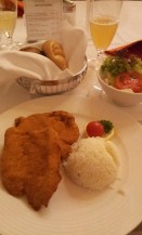 The Wiener Schnitzel with rice and salad