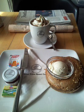 Hot Brown Bagel & Sour Cream Breakfast with Marmalade, Honey and Whipped Cream Coffee