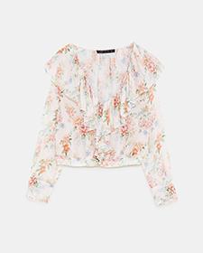 Zara Ruffled Print Floral Blouse