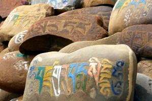 Prières indiennes sur rochers