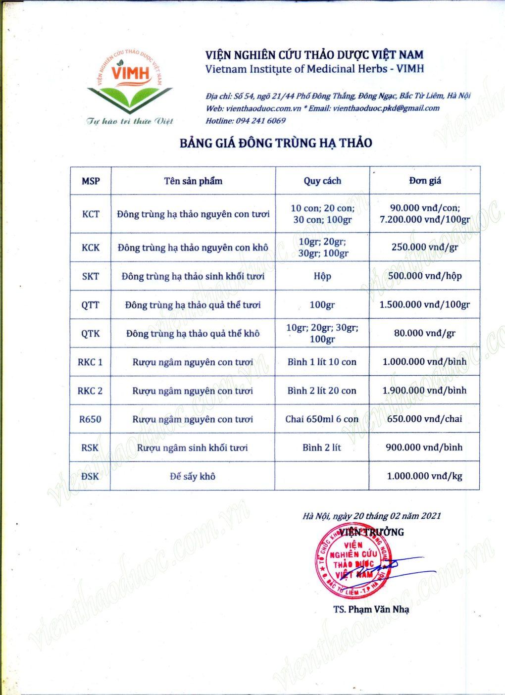 bảng giá đông trùng hạ thảo viện thảo dược