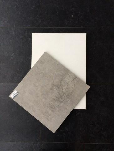 witte keukenkast met betonlook blad
