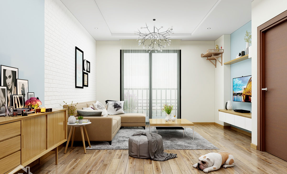 thiết kế nội thất căn hộ chung cư 68m2