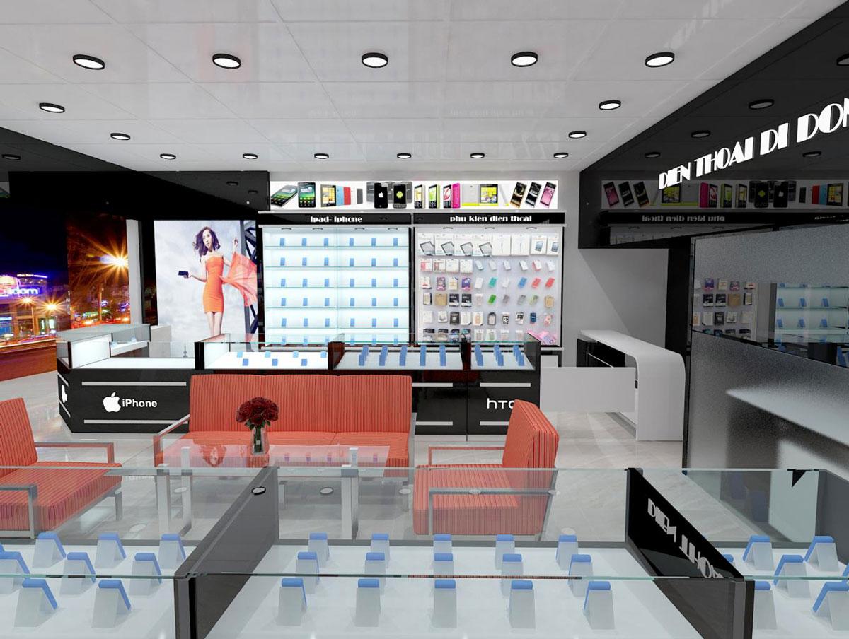 thiết kế nội thất cửa hàng điện thoại