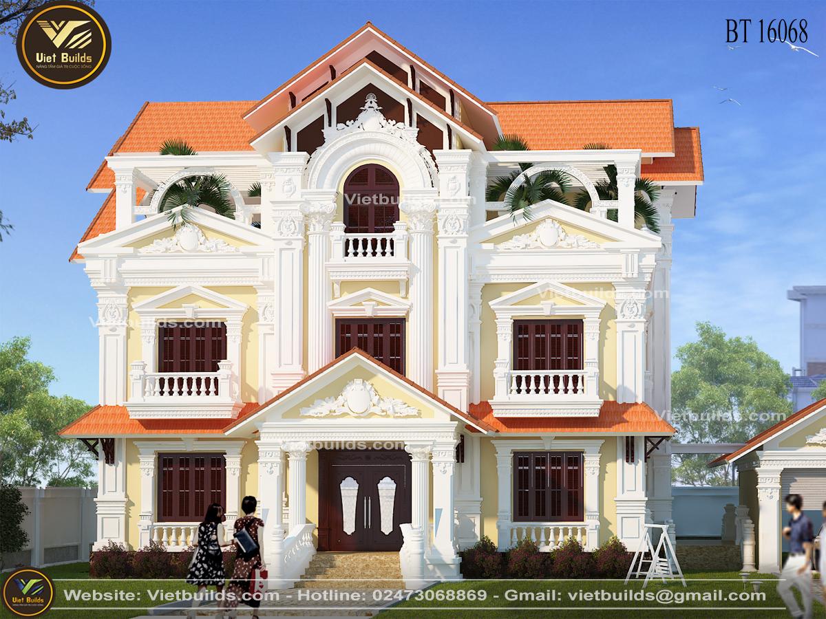 Mẫu biệt thự Pháp 3 tầng đẹp tại Ninh Bình BT16068