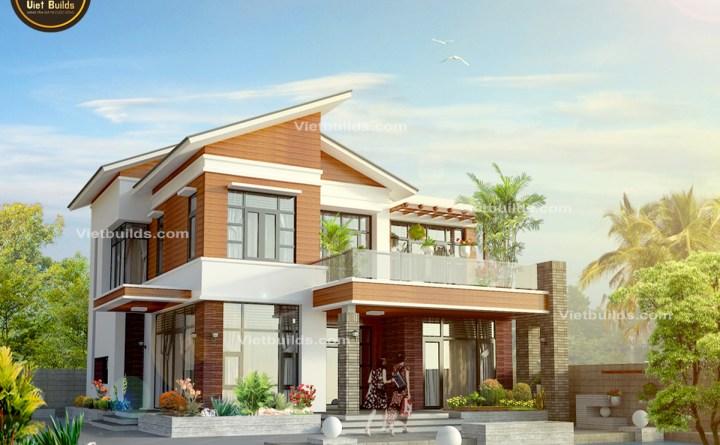 mẫu nhà đẹp 2 tầng hiện đại ở Hà Nội BT1406