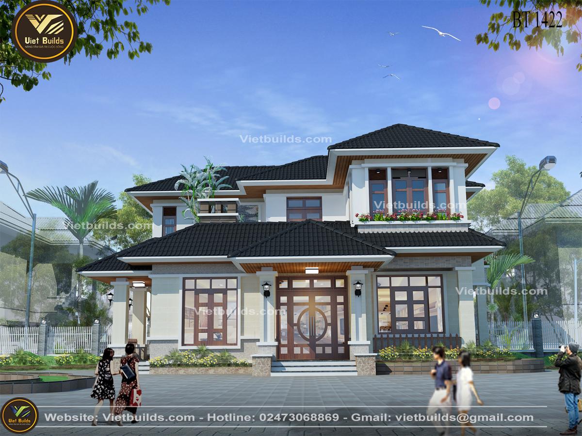 mẫu nhà đẹp 2 tầng mái thái ở Thái Bình BT1422