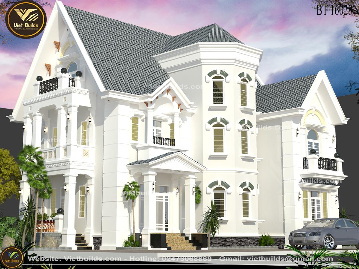 Thiết kế biệt thự 3 tầng tân cổ điển đẹp BT16028