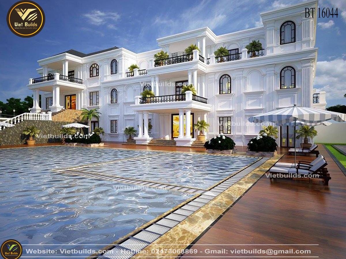 mẫu thiết kế khách sạn tân cổ điển đẹp BT16044