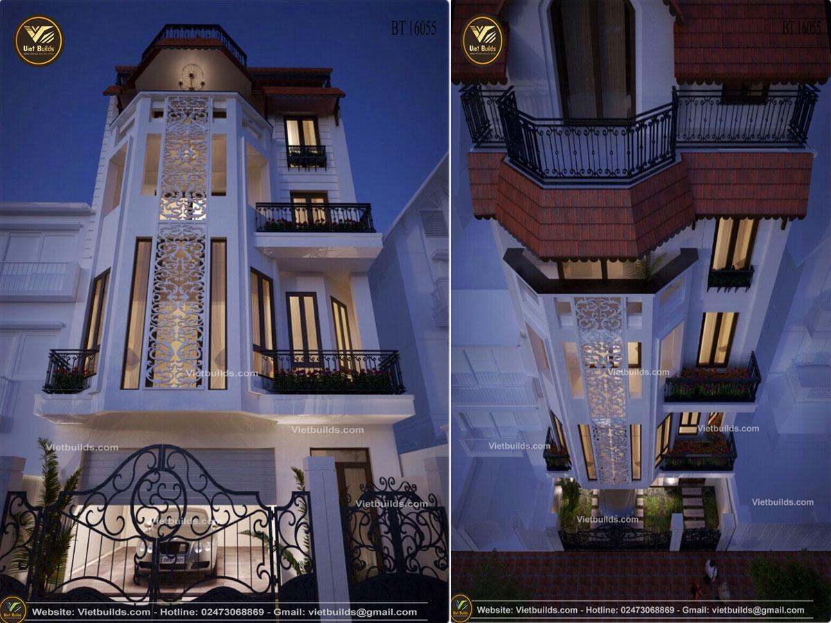Mẫu thiết kế nhà phố 5 tầng Hiện Đại BT16055