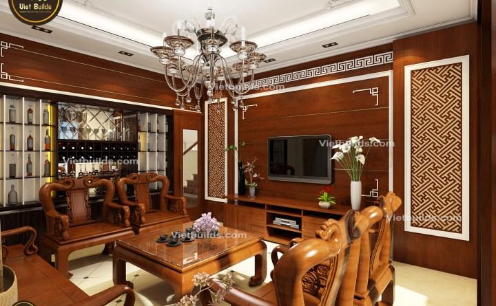 Mẫu thiết kế nội thất Tân Cổ Điển đẹp với trang trí đồ gỗ NT1425