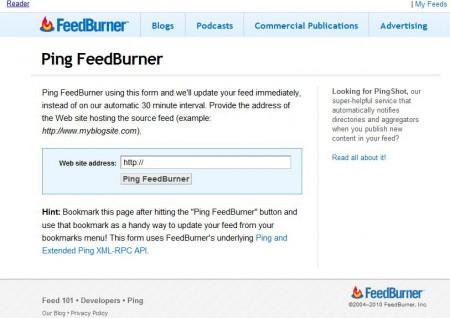 Feed Burnner Ping giúp bạn cập nhật blog feed ngay tức thì