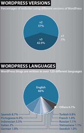 Sơ đồ biểu thị tỷ lệ các phiên bản và ngôn ngữ được sử dụng phổ biến