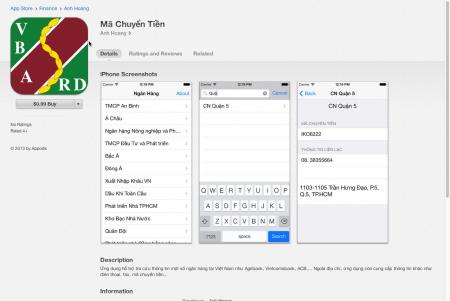 Mã Chuyển Tiền trên App Store iTunes