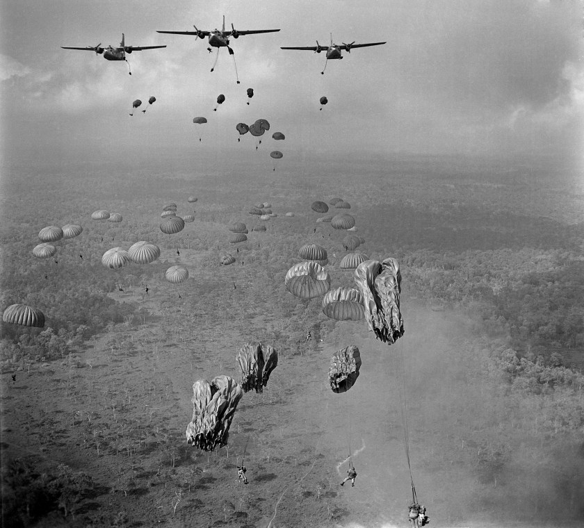 In 1963, 840 South Vietnamese paratroopers jump from US aircraft into Tay Ninh Province, Vietnam.