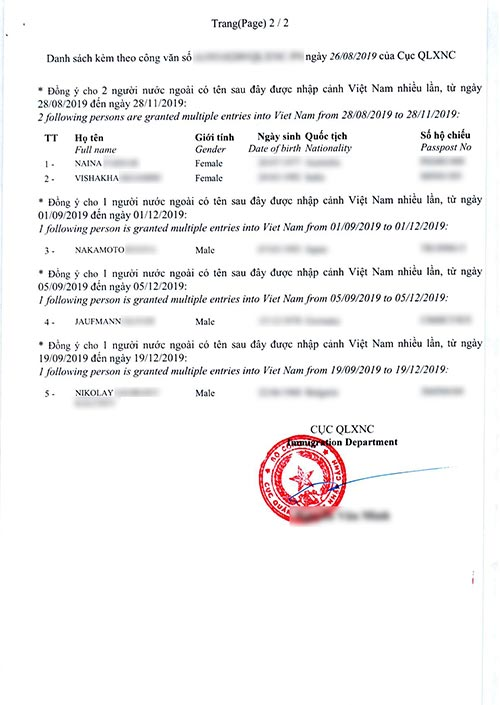 Vietnam visa approval letter example page 1