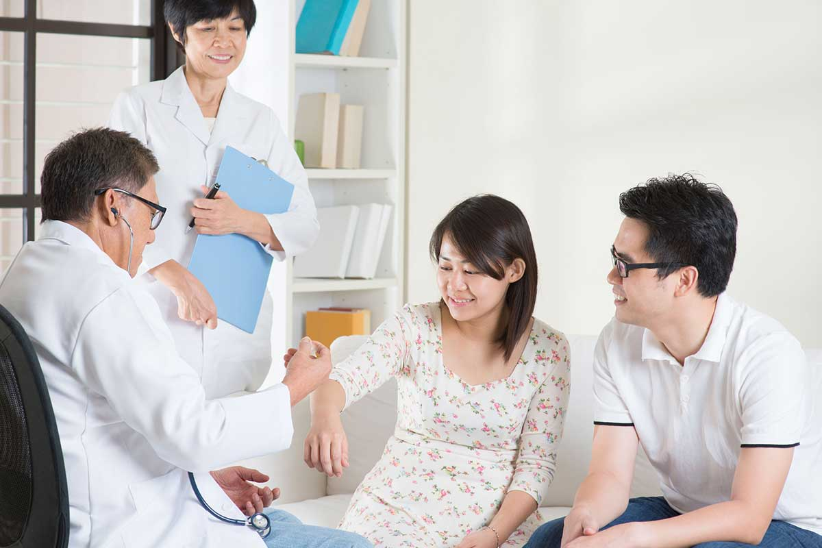 Asian couple visiting a doctor for vaccination