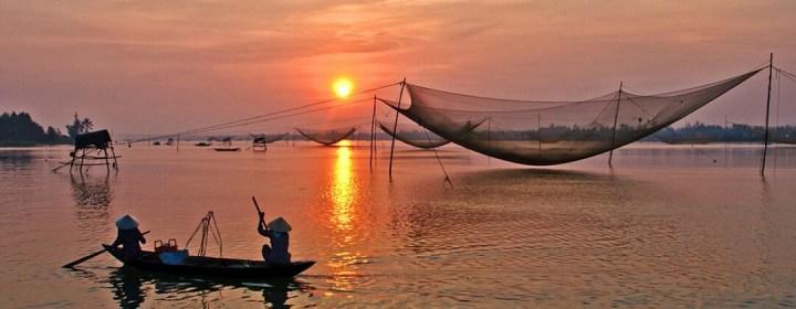 Zonsondergang Thu Bon River - Hoi An, Vietnam