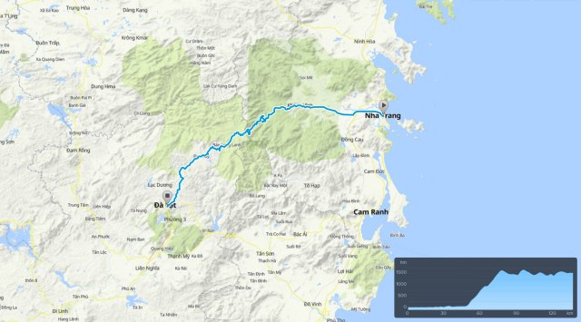 Cycle route map: Nha Trang to Da Lat