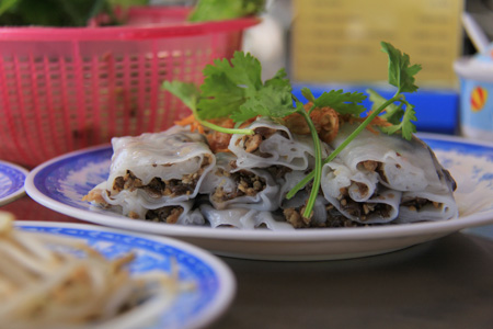 Banh Cuon or Pork and Mushroom Stuffed Rice Rolls