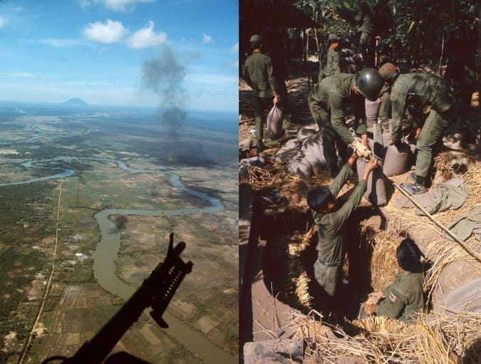 Operation Cedar Falls, viewed from the air, on a U.S. Army helicopter gunship, left, and below ground, where soldiers uncover hidden bags of rice. Credit Dick Swanson/The LIFE Images Collection, via Getty Images