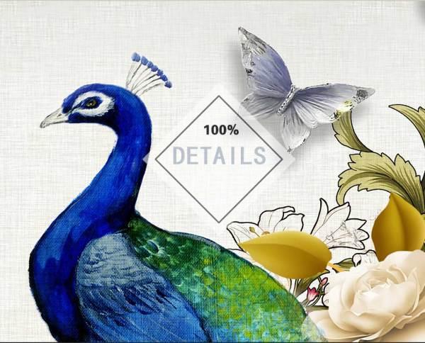 Tranh chim công kích thước thật 100%