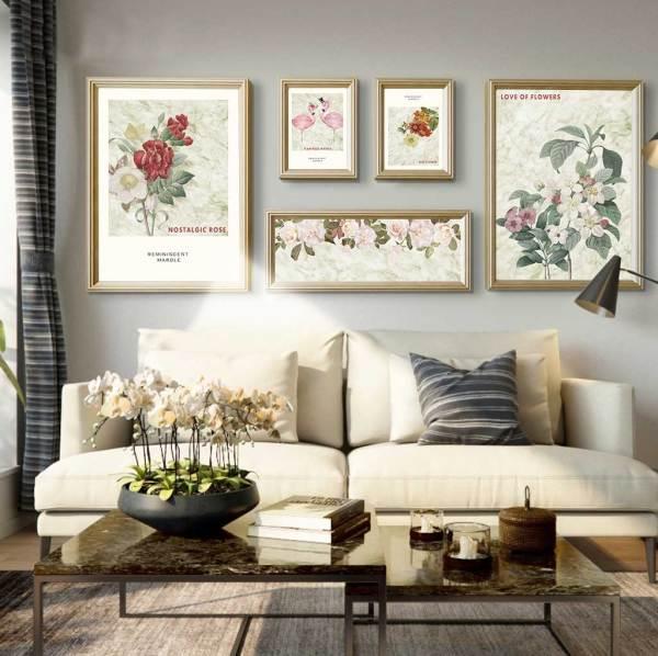 Hoa hồng và chim hồng hạc trang trí phòng khách