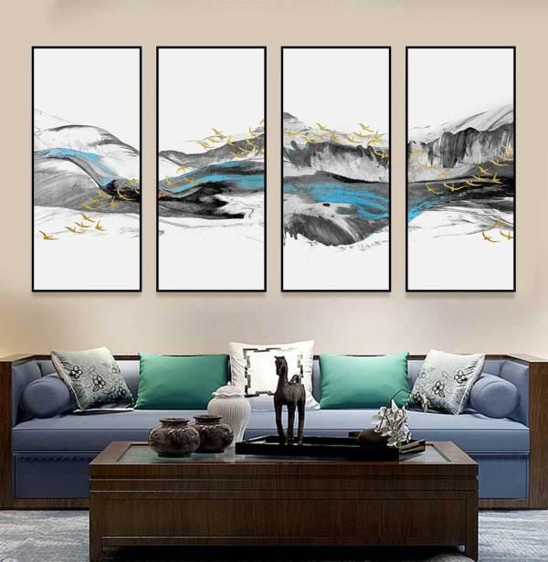Tranh sóng biển và đàn chim treo phòng khách